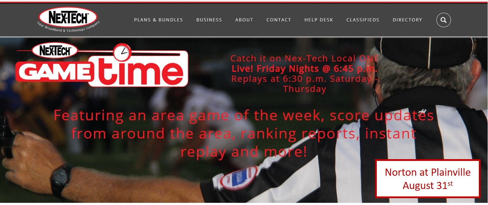 Nex Tech Local One To Feature This Weeku0027s Norton At Plainville Game.